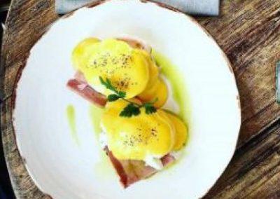 Eggs Benedict served